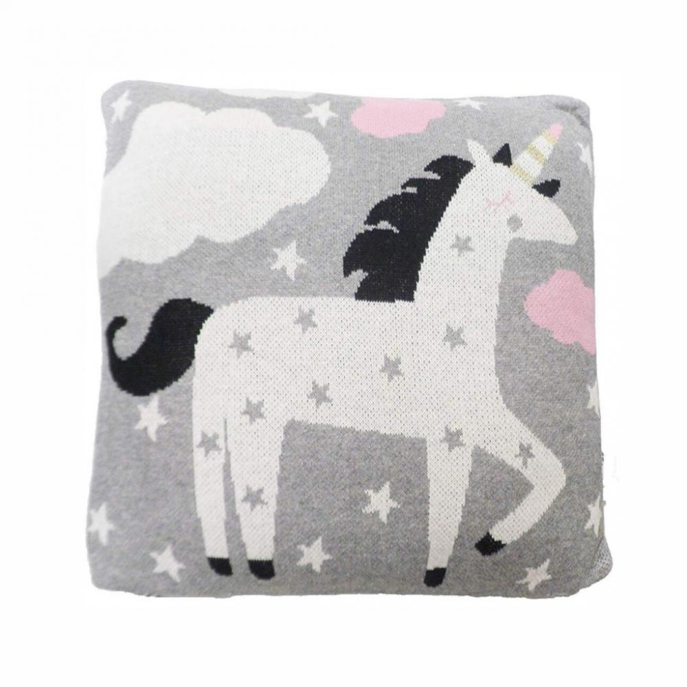 Perna decor bumbac Unicorn Gri Roz