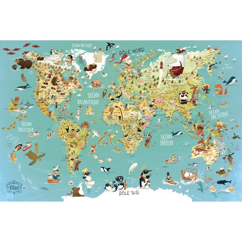 Puzzle Harta lumii limba franceza 500 piese