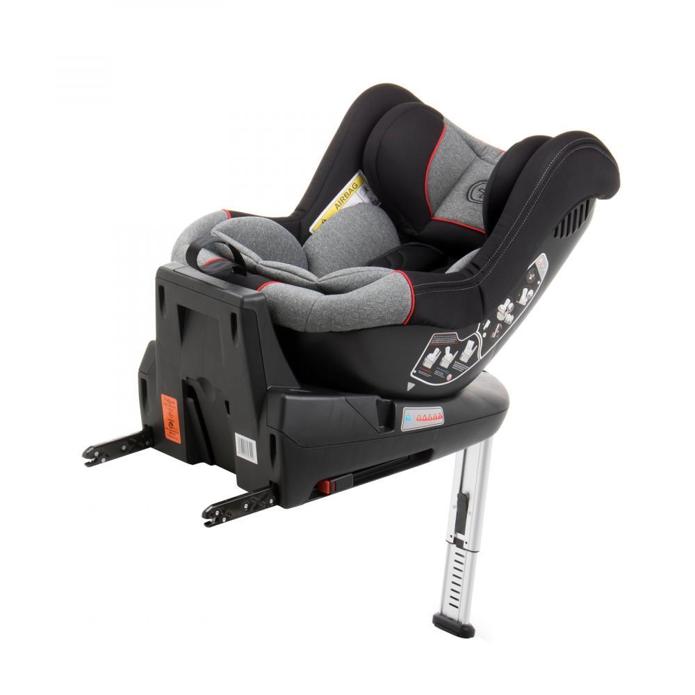 Scaun auto Babyauto Lennox isofix rotatie 360 grade picior suport 0-18 kg gri-rosu