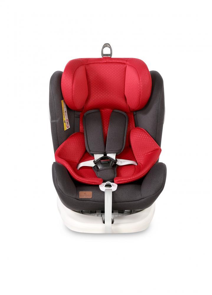 Scaun auto cu isofix 0-36 kg Lusso SPS rotativ 360 grade Black Red