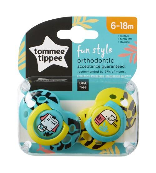 TOMMEE TIPPEE Set suzete ortodontice de Zi Fun Tommee Tippee 6-18 luni elefant  pasare