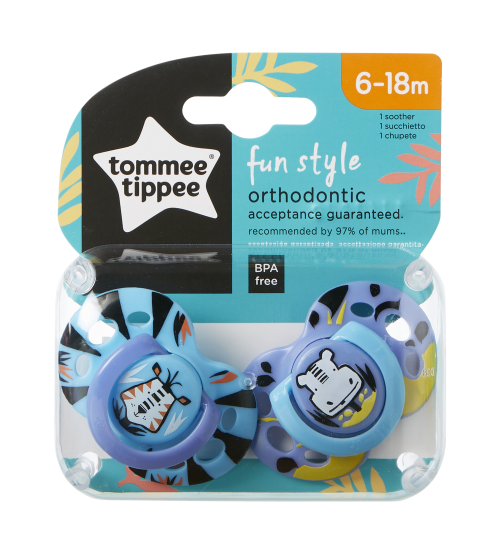 TOMMEE TIPPEE Set suzete ortodontice de Zi Fun Tommee Tippee 6-18 luni tigru  hipopotam