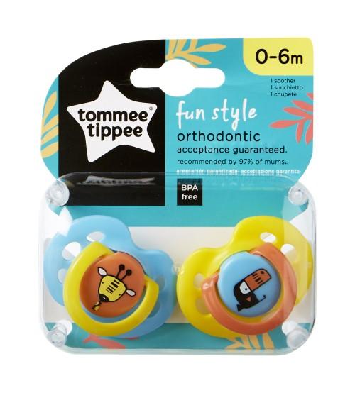 TOMMEE TIPPEE Set suzete ortodontice de zi Fun Tommee Tippee 0-6 luni 2 buc girafa  pasare