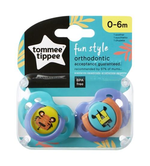 TOMMEE TIPPEE Set suzete ortodontice de zi Fun Tommee Tippee 0-6 luni 2 buc tigru  girafa