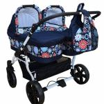 Carucior gemeni Side by Side 2 in 1 Flowers PJ Stroller