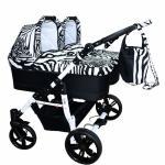 Carucior gemeni Side by Side 3 in 1 Zebra  PJ Stroller