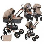 Carucior transformabil 3 in 1 Alba cos auto inclus Dark Beige