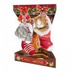 Felicitare 3D Swing Cards de iarna Pisoi de Craciun