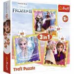 Puzzle Trefl 3 in 1 Frozen 2 Ana si Elsa