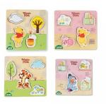 Puzzle din lemn Lena pentru copii 4 piese mari Winnie the Pooh
