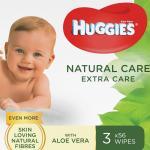 Servetele umede Huggies Natural Care Extra Care 3 pachete x 56 168 buc