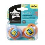 Set suzete ortodontice de zi Fun Tommee Tippee 0-6 luni 2 buc hipopotam / girafa