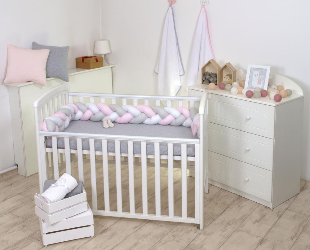 Baby Nest si bumper impletit multifunctional pentru bebelusi white-grey-pink 80 x 50 cm