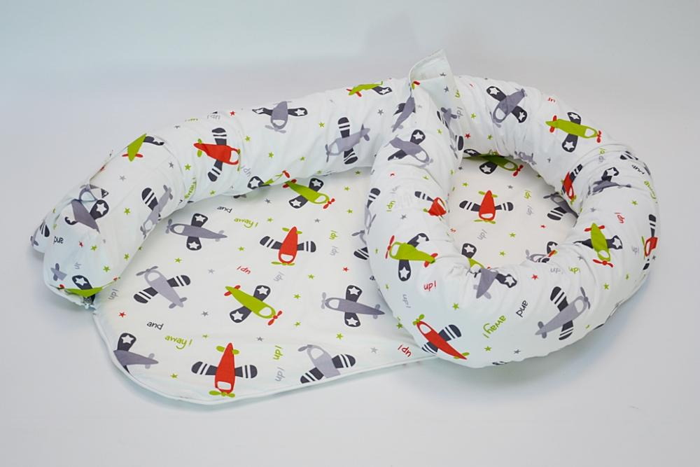 Baby nest 0-8 luni 3 in 1 culcus, protectie patut si saltea Avioane verzi