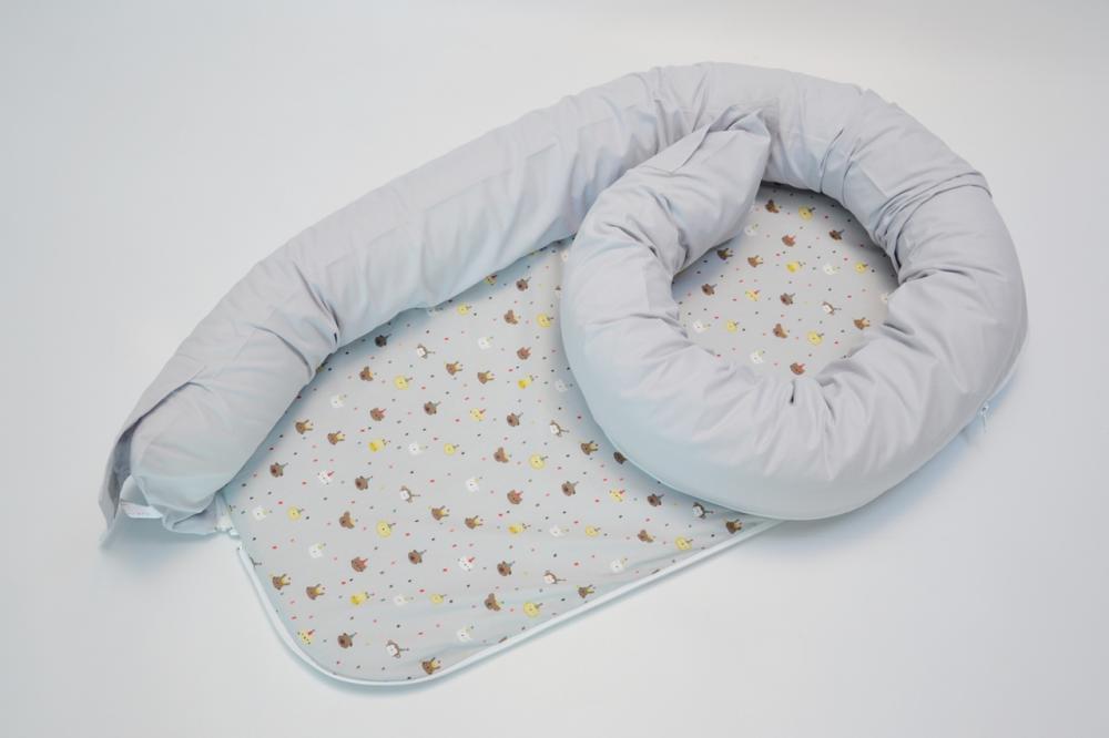 Baby nest 0-8 luni 3 in 1 culcus, protectie patut si saltea Gri animale mici