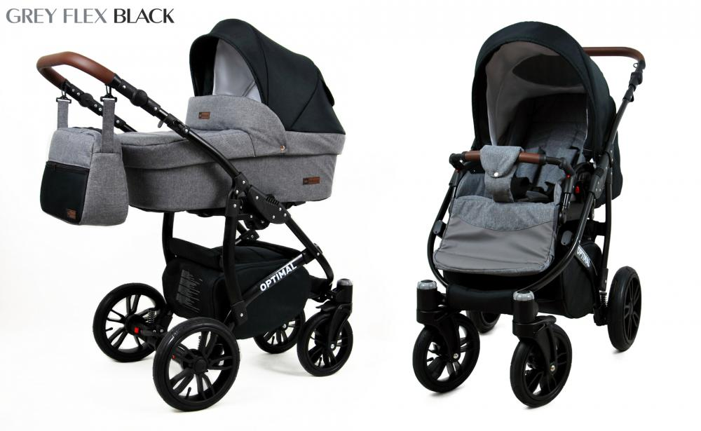 Carucior Optimal 3 in 1 Grey Flex Black