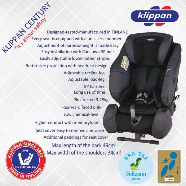 Scaun auto 9-25 Kg Klippan Century Rear-Facing BlackOrange
