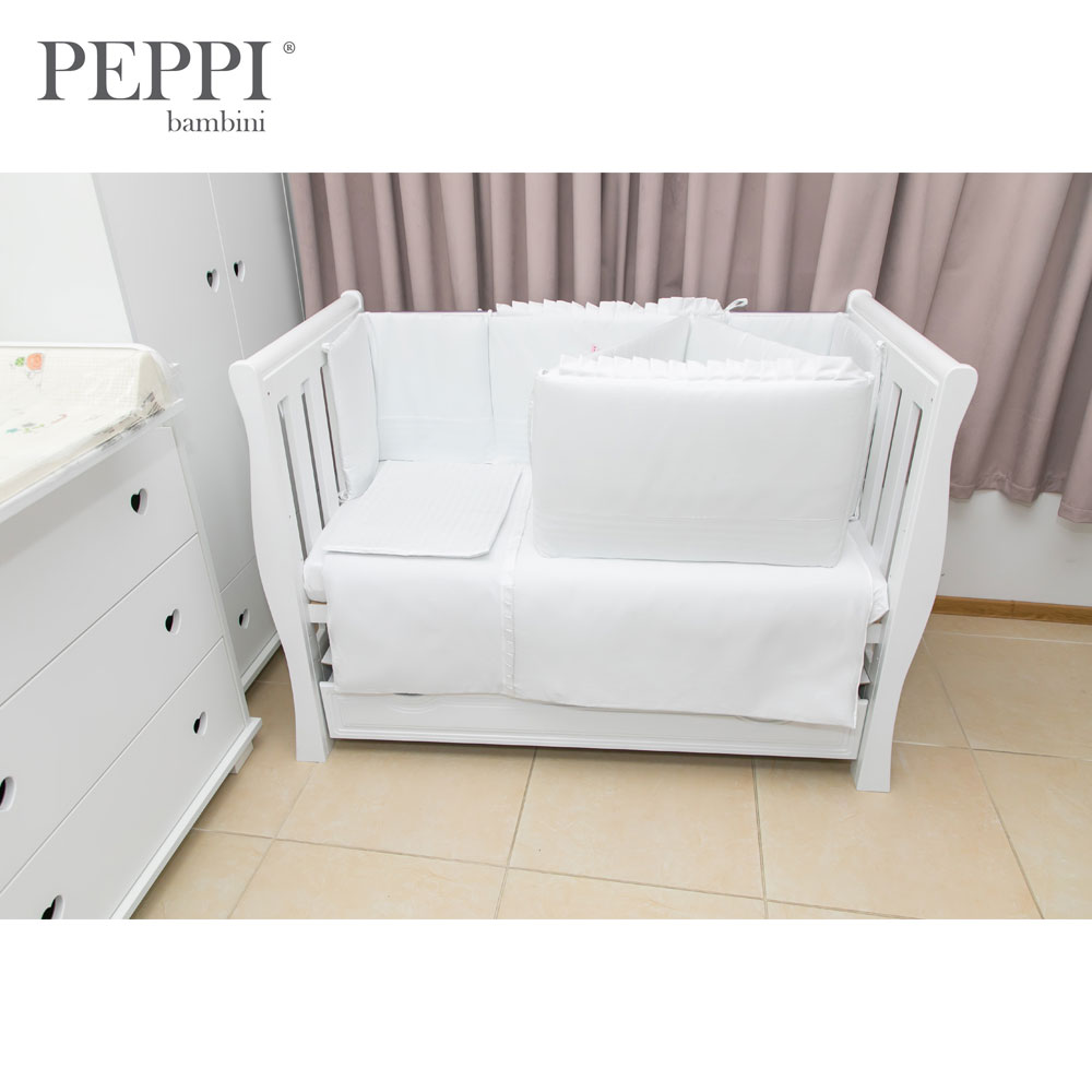 Lenjerie patut 5 piese 120x60 cu broderie Butterfly White