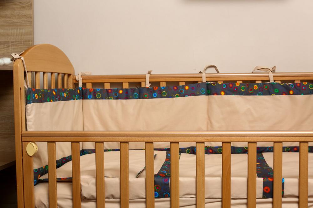Lenjerie patut bebe 4 piese Buline bej 60 x 120 cm