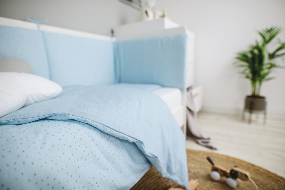Set de pat pentru bebelusi Blue Heart 3 piese bumbac