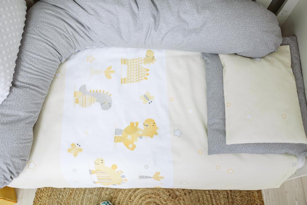 Set de pat pentru bebelusi Dinos 3 piese