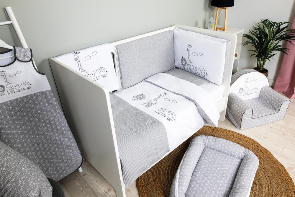 Set de pat pentru bebelusi Safari 6 piese bumbac