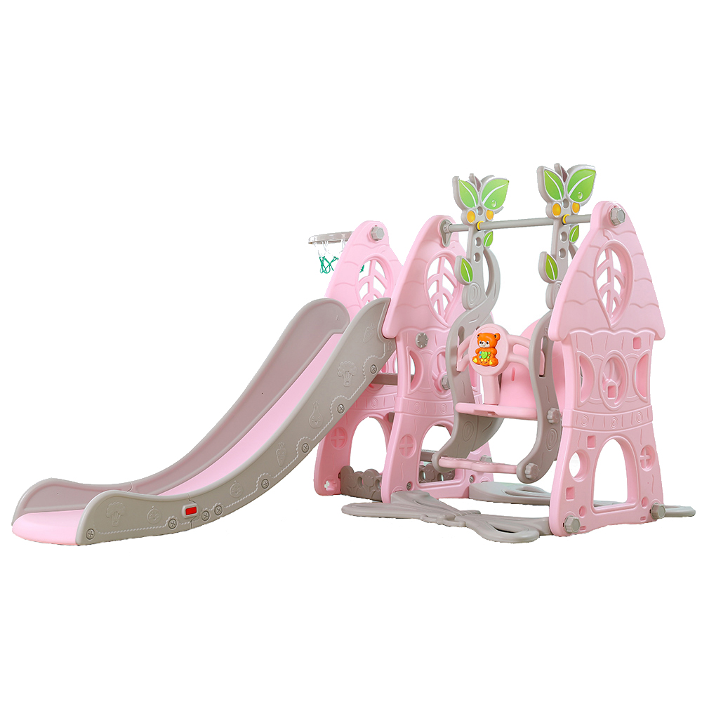 Spatiu de joaca cu leagan si tobogan Wonder Pink
