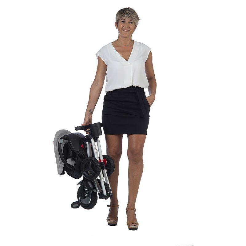 Tricicleta ultrapliabila cu roti din cauciuc Eva Qplay Nova gri
