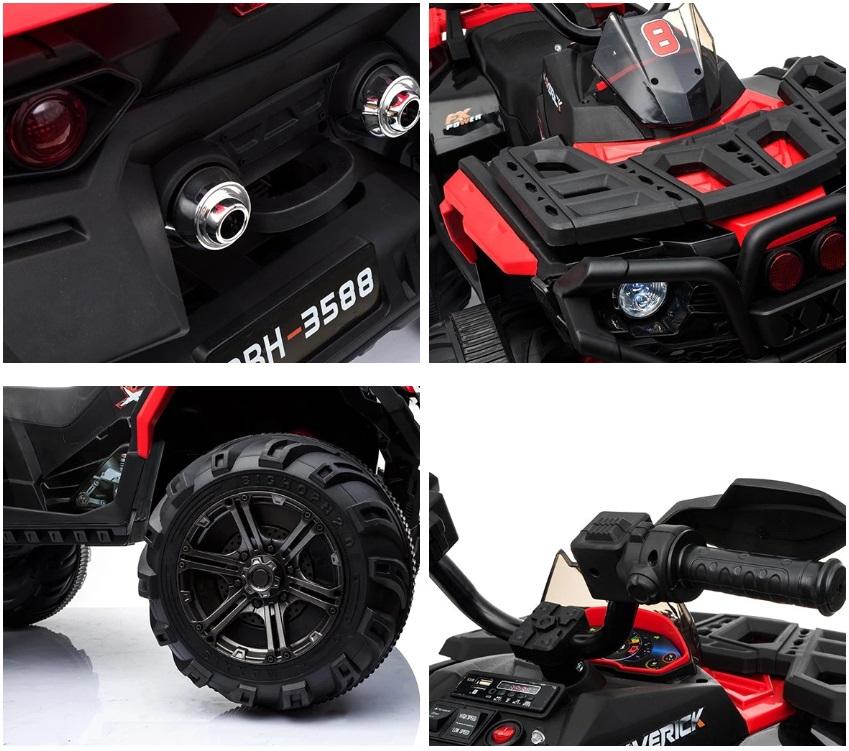 ATV electric cu amortizoare si roti din plastic Maverick 4x4 Red imagine