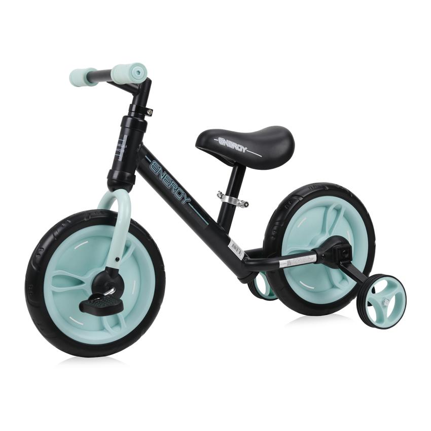 Bicicleta de tranzitie 2 in 1 Energy cu pedale si roti auxiliare Black Green