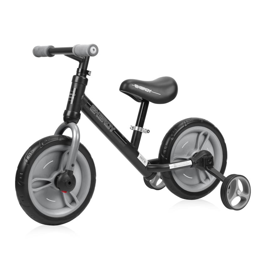 Bicicleta de tranzitie 2 in 1 Energy cu pedale si roti auxiliare Black Grey