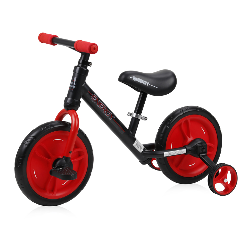 Bicicleta de tranzitie 2 in 1 Energy cu pedale si roti auxiliare Black Red