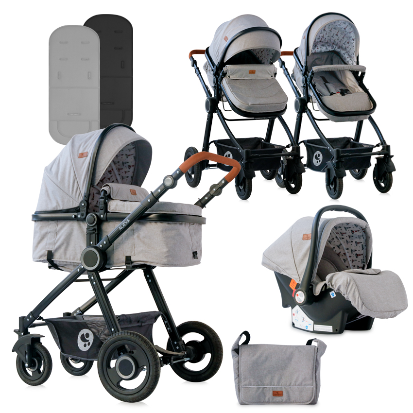 Carucior transformabil 3 in 1 Alexa Dark Grey Lighthouse