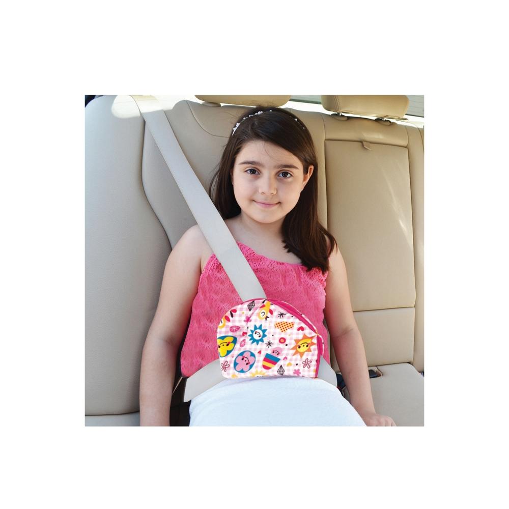 Deviator centura siguranta pentru copii Comfortable Travel Pink