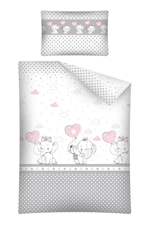 Lenjerie patut cu 3 piese Elefant cu balon si inima roz 072