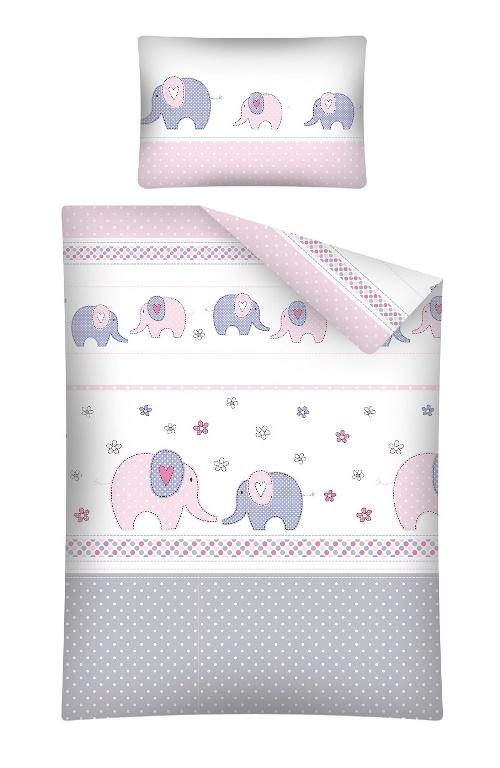 Lenjerie patut cu 3 piese Elefant roz 070
