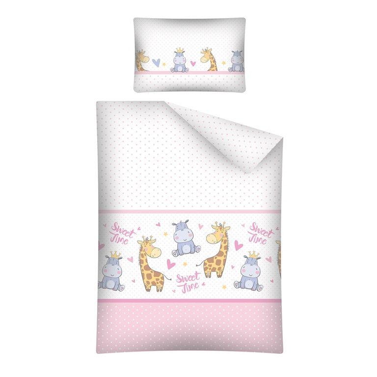 Lenjerie patut cu 4 piese Hipo girafa roz 074