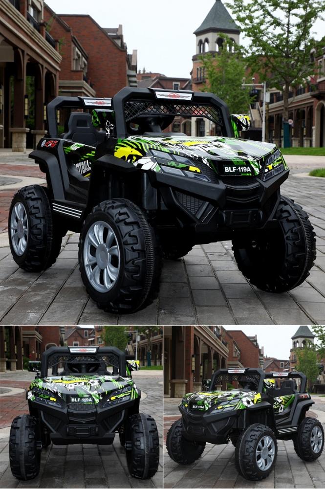 Masinuta electrica cu 2 locuri si suspensii Jumbo Jeep Green graffiti