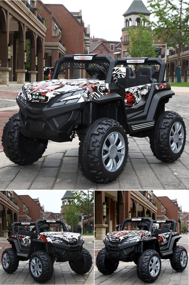 Masinuta electrica cu 2 locuri si suspensii Jumbo Jeep White graffiti - 1