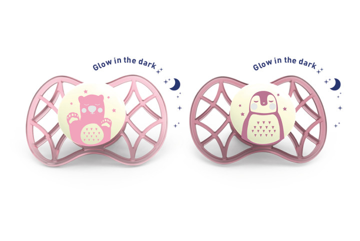 Set 2 suzete ortodontice de noapte 0 luni+ fetita Nuvita Air 55 Explorer 7066