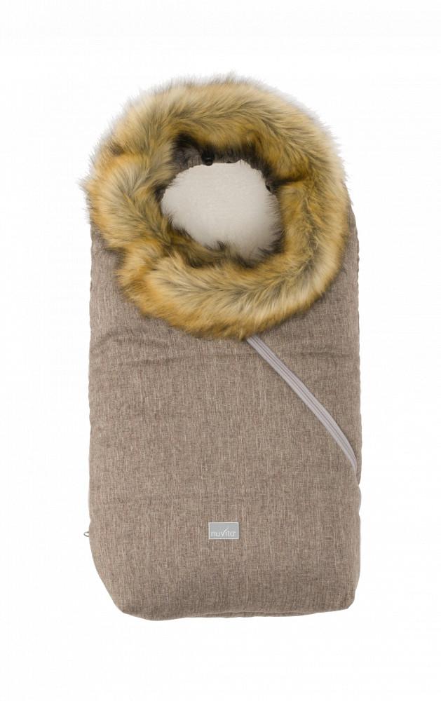 Sac de iarna cu blanita 80 cm Nuvita Ovetto Pop Melange Biscuit Beige 9236