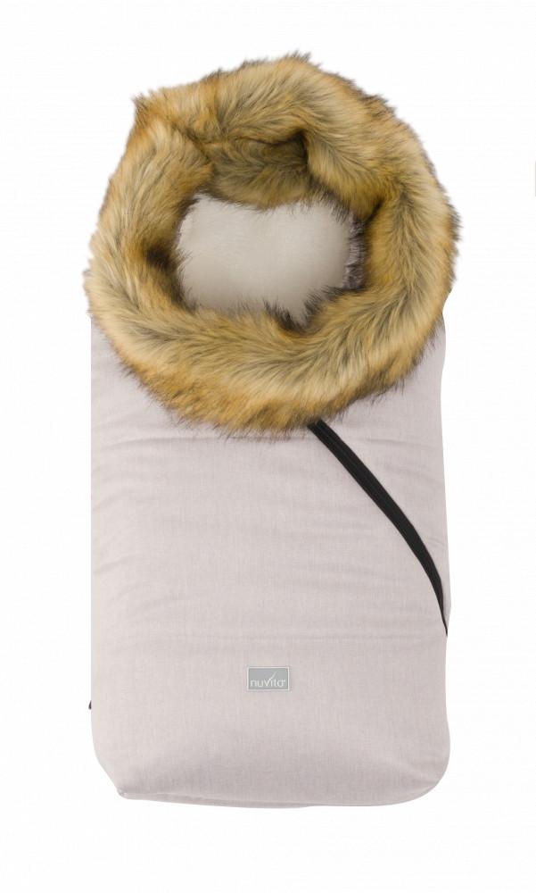 Sac de iarna cu blanita 80 cm Nuvita Ovetto Pop Melange Pink Gray Beige 9236