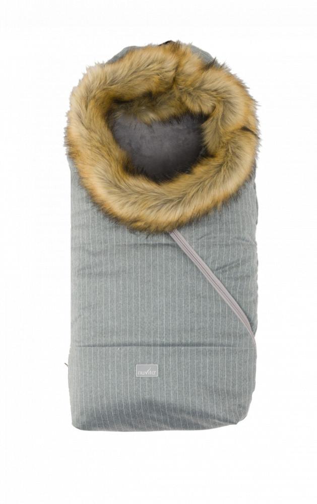Sac de iarna cu blanita 80 cm Nuvita Ovetto Pop Pinstripe Gray Beige 9236
