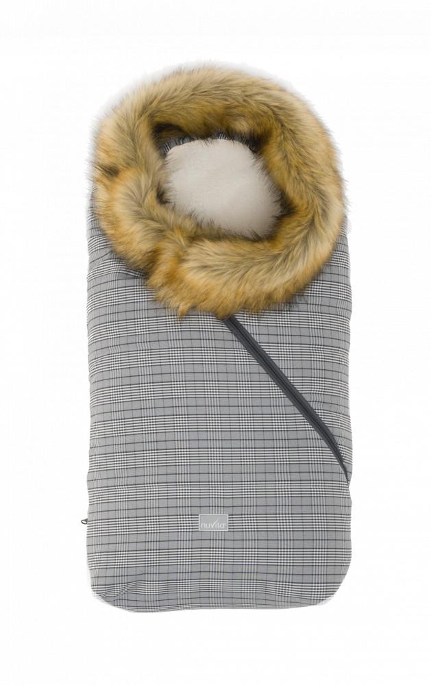 Sac de iarna cu blanita 80 cm Nuvita Ovetto Pop Prince of Wales Beige 9236