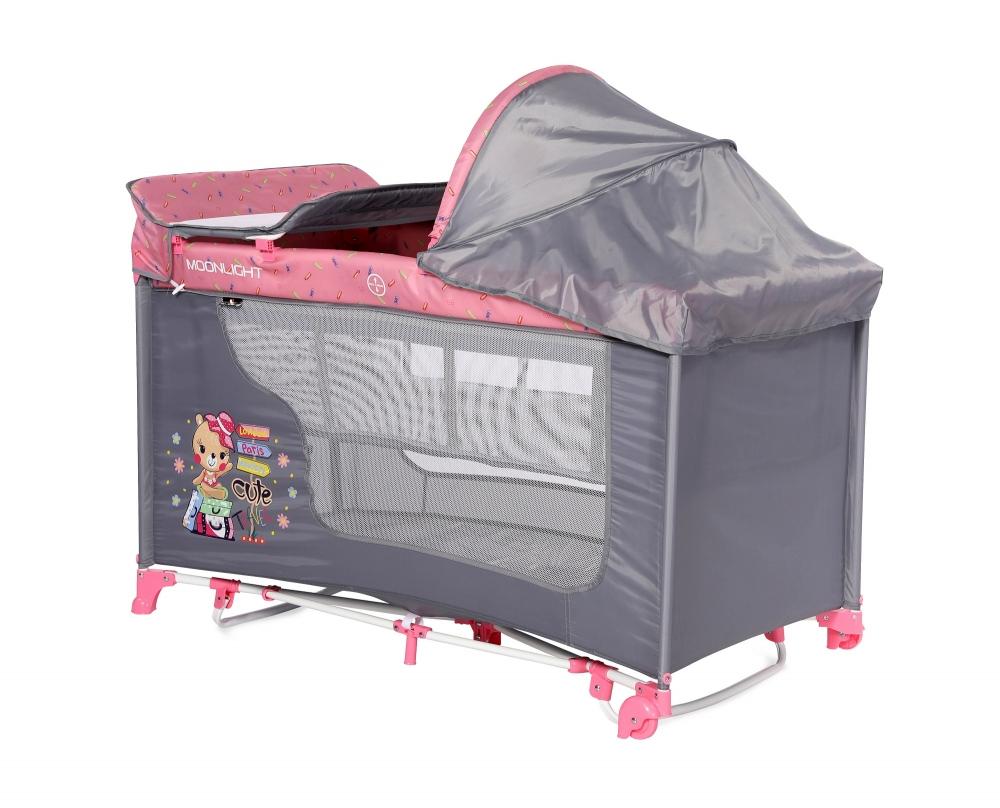 Patut pliabil Moonlight Rocker 2 nivele cu accesorii Pink Travelling