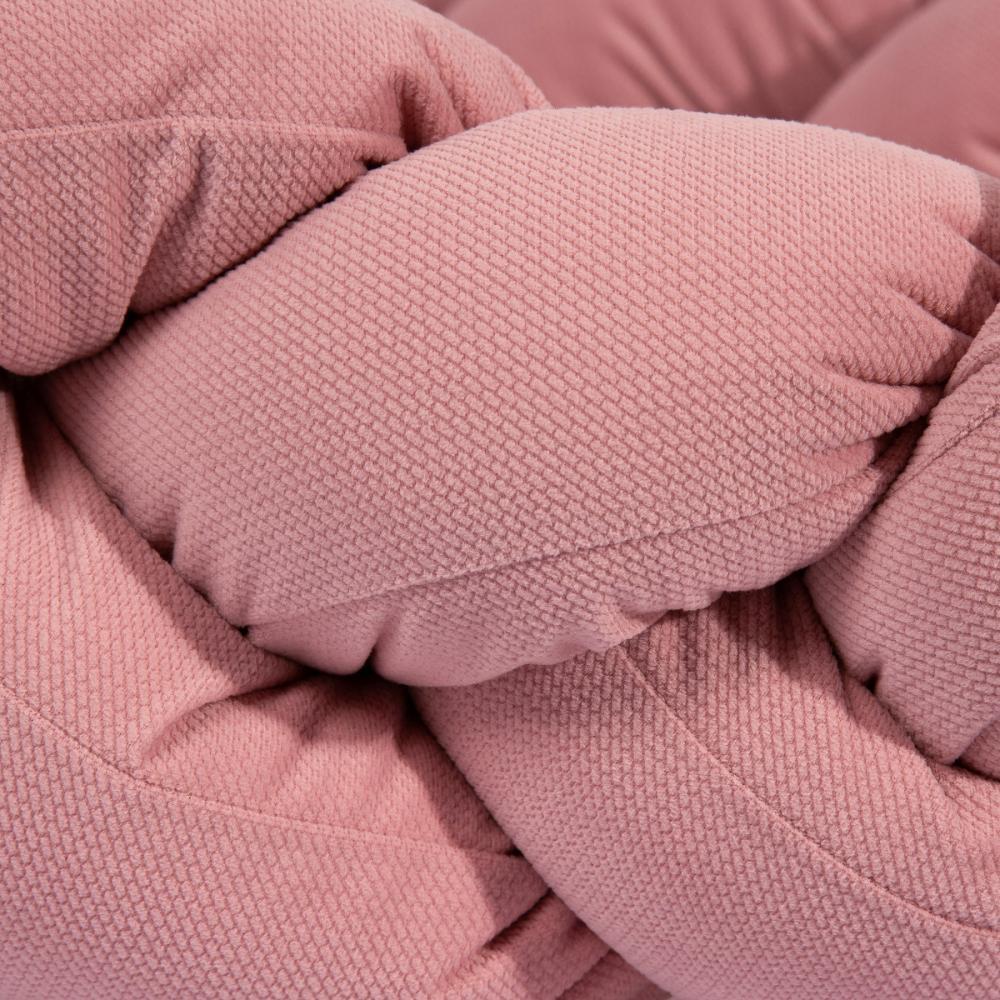 Protectie laterala patut bebe bumper impletit inchidere velcro Velvet Dirty Pink 340 cm