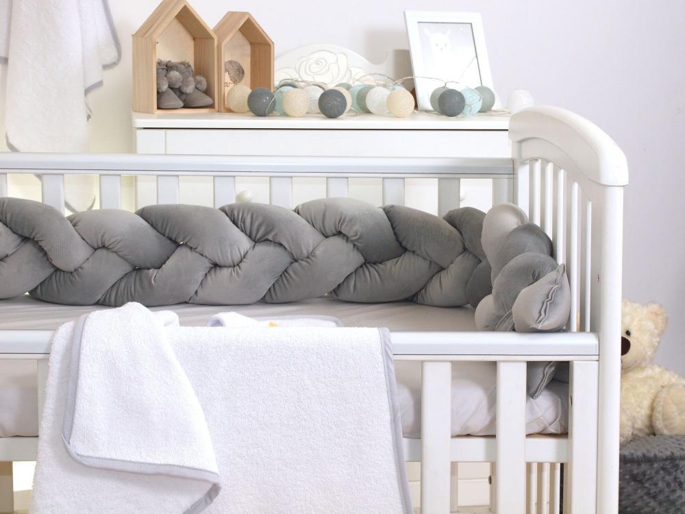 Protectie laterala patut bebe bumper impletit Velvet Grey 210 cm