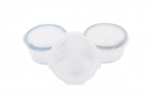 Set 3 mini caserole stocare si depozitare mancare pentru bebelusi din sticla cu capac BO Jungle bleu 360 ml