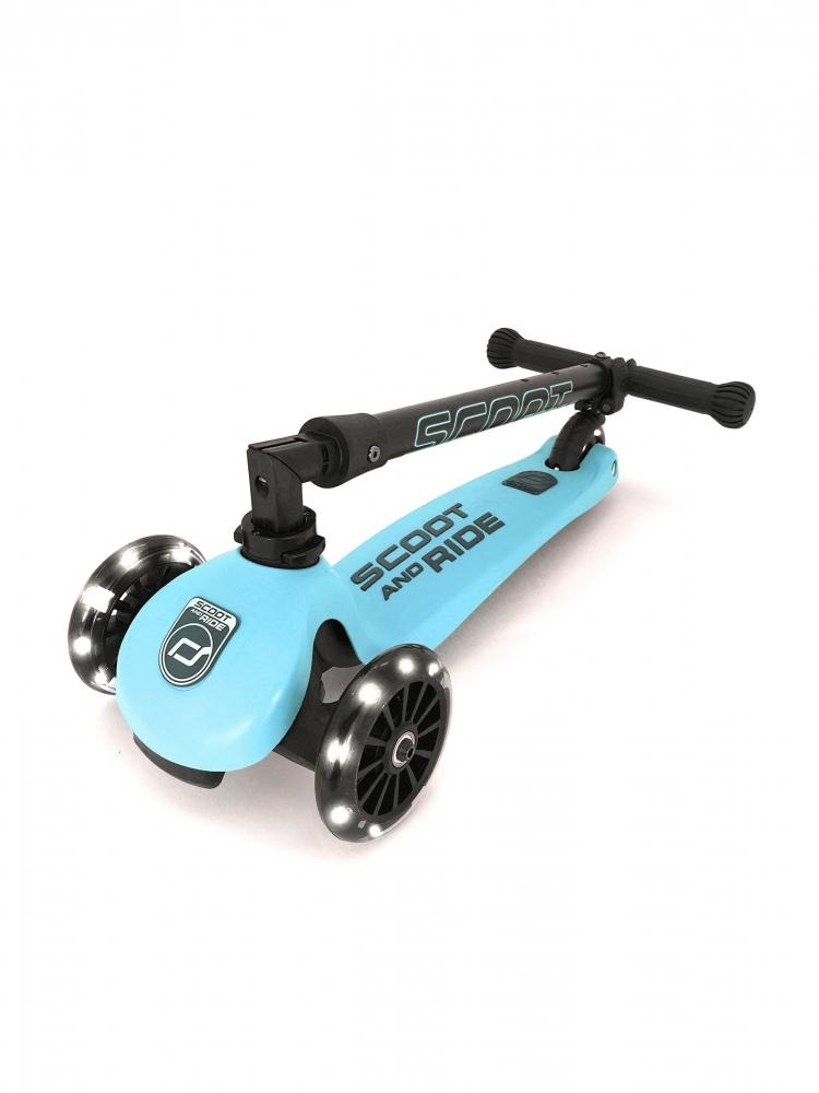Trotineta copii pliabila cu roti luminoase Scoot Ride HighwayKick 3 Blueberry imagine