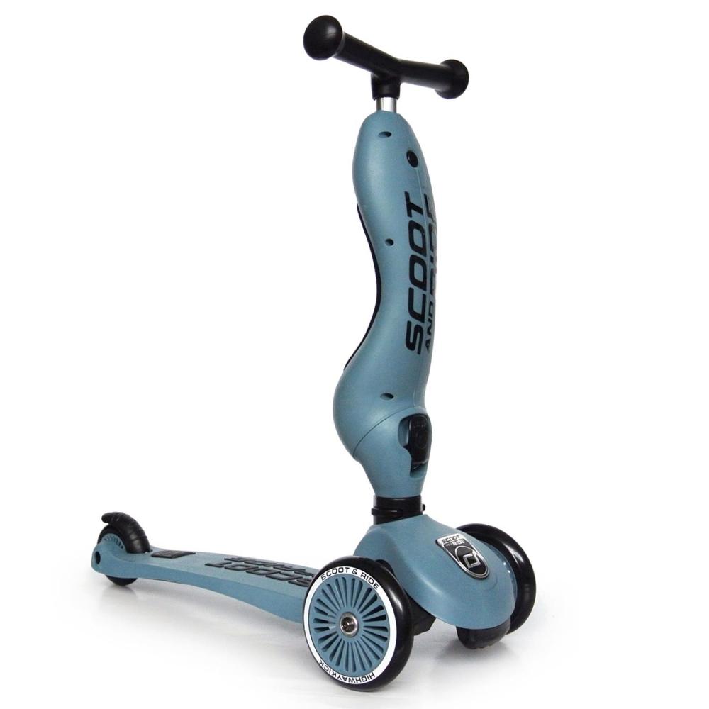 Trotineta copii transformabila 2in1 Scoot Ride HighwayKick 1 Steel Bleu